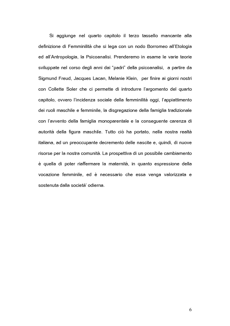 Anteprima della tesi: La femminilità: le prospettive etologiche, antropologiche e psicoanalitiche, Pagina 4