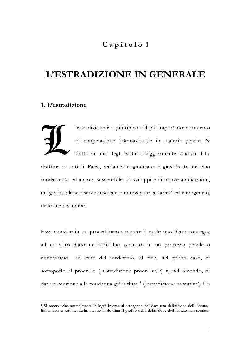 Anteprima della tesi: Il principio di specialità nell'estradizione attiva o dall'estero, Pagina 1