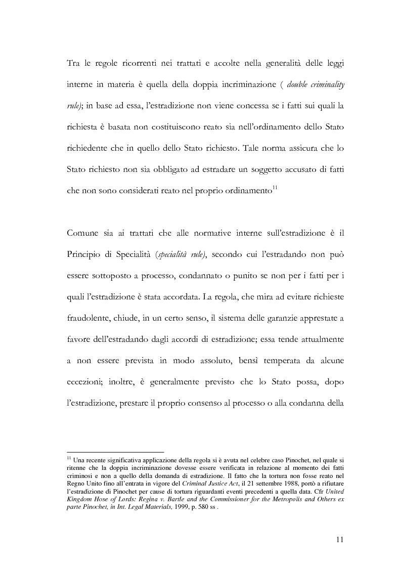 Anteprima della tesi: Il principio di specialità nell'estradizione attiva o dall'estero, Pagina 11