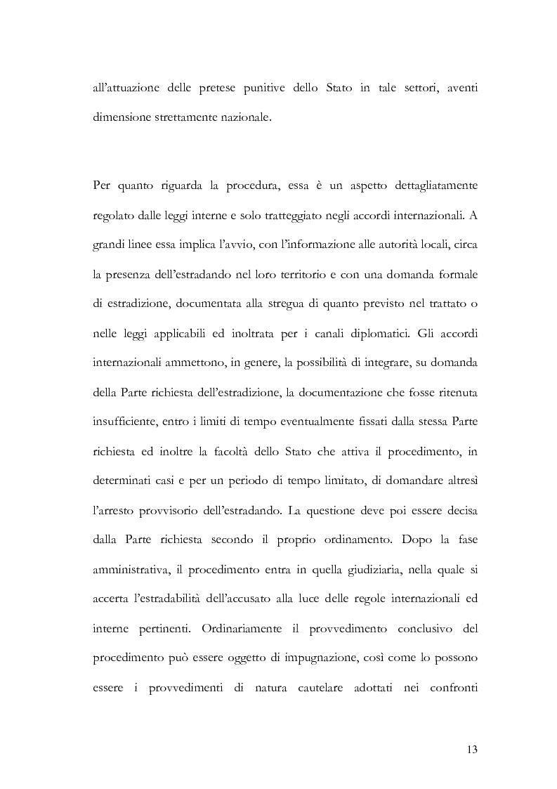 Anteprima della tesi: Il principio di specialità nell'estradizione attiva o dall'estero, Pagina 13