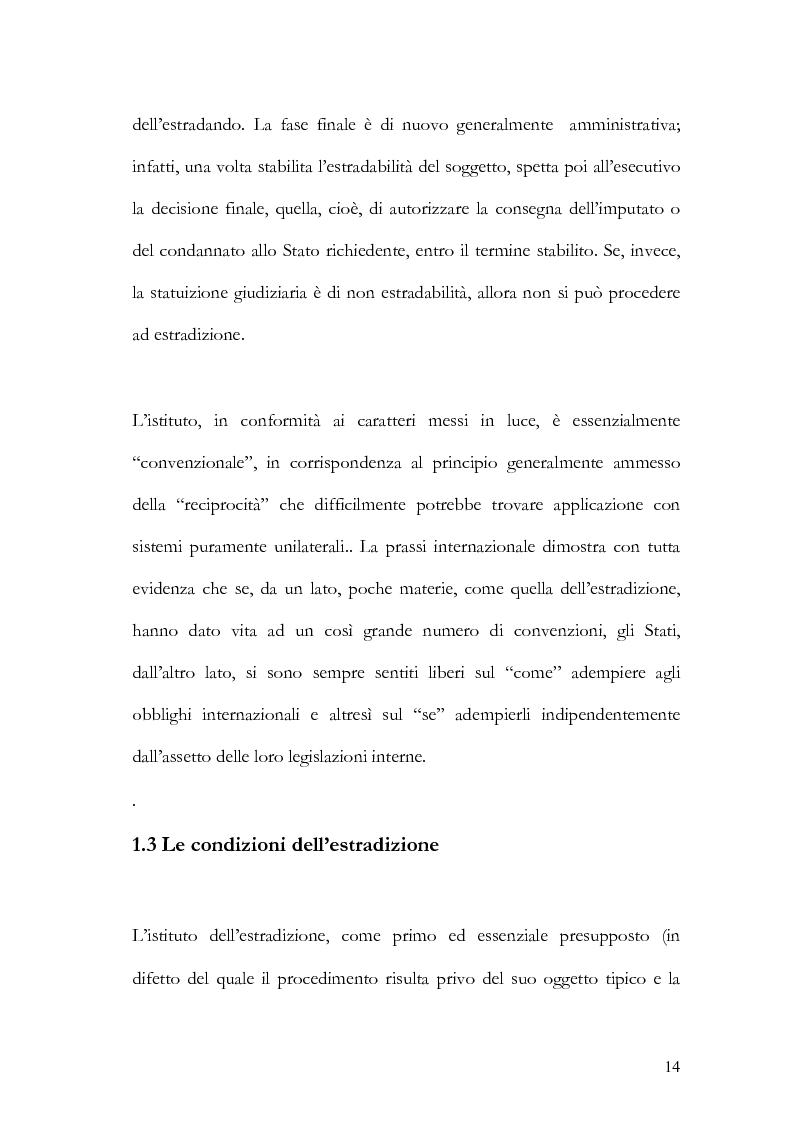Anteprima della tesi: Il principio di specialità nell'estradizione attiva o dall'estero, Pagina 14
