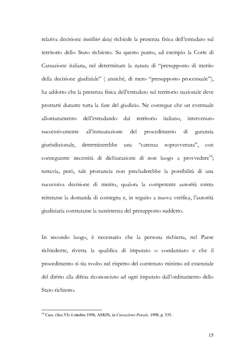 Anteprima della tesi: Il principio di specialità nell'estradizione attiva o dall'estero, Pagina 15