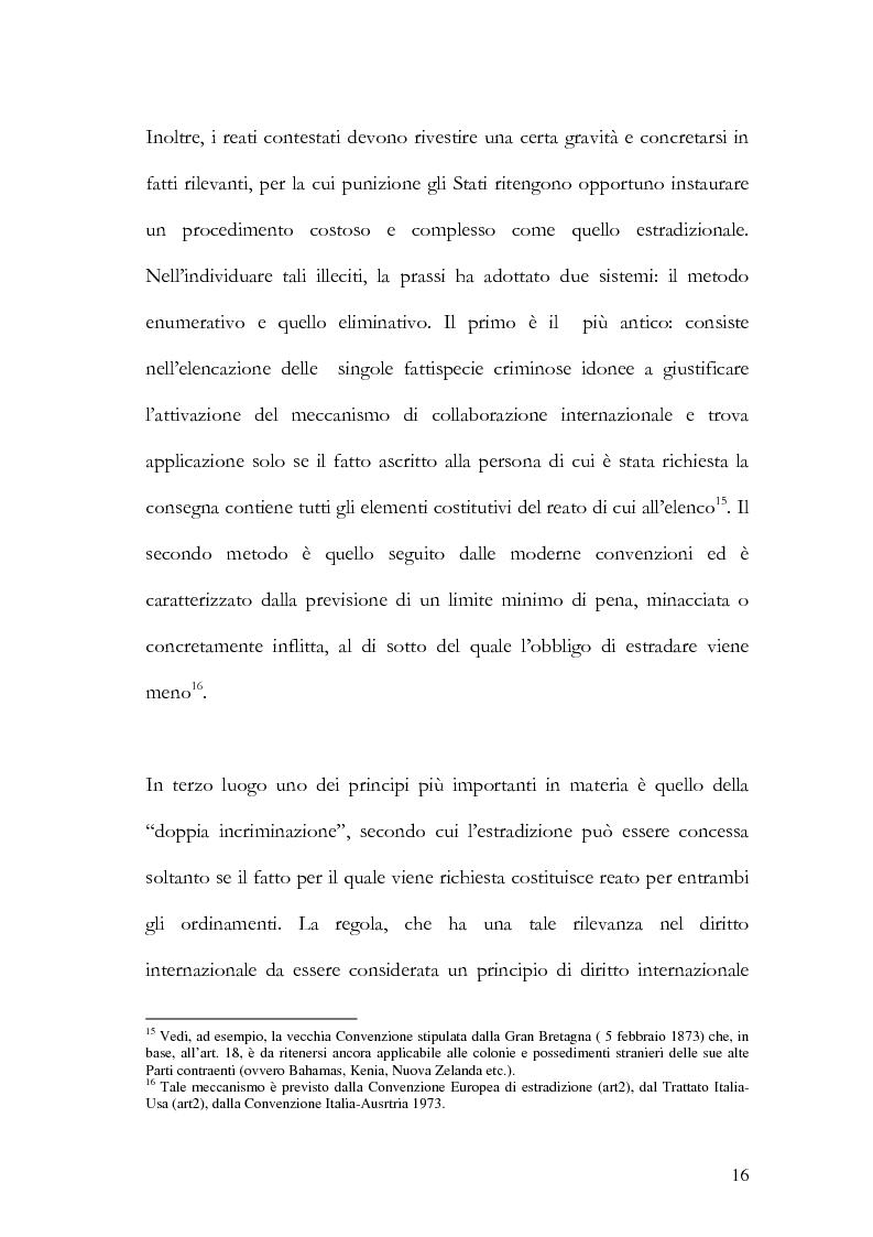 Anteprima della tesi: Il principio di specialità nell'estradizione attiva o dall'estero, Pagina 16