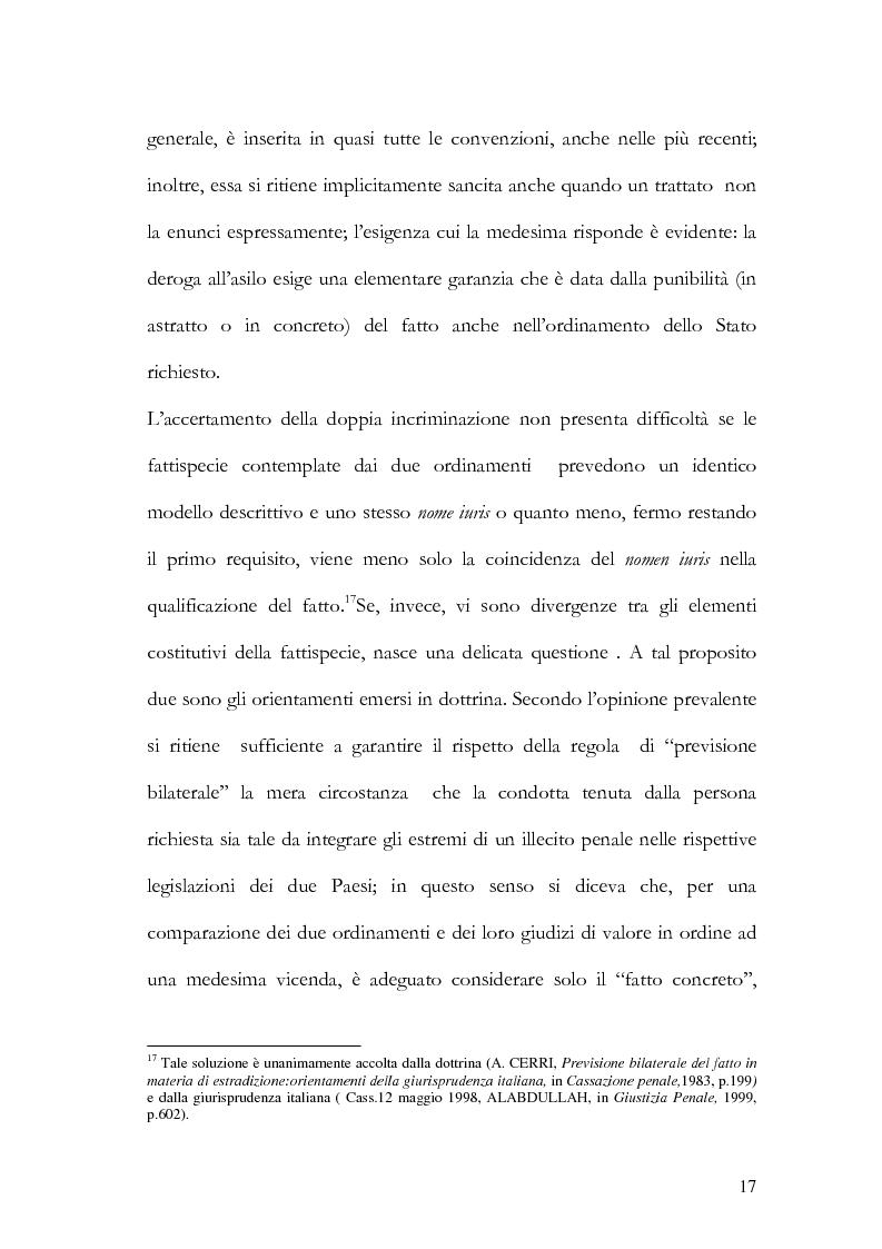 Anteprima della tesi: Il principio di specialità nell'estradizione attiva o dall'estero, Pagina 17