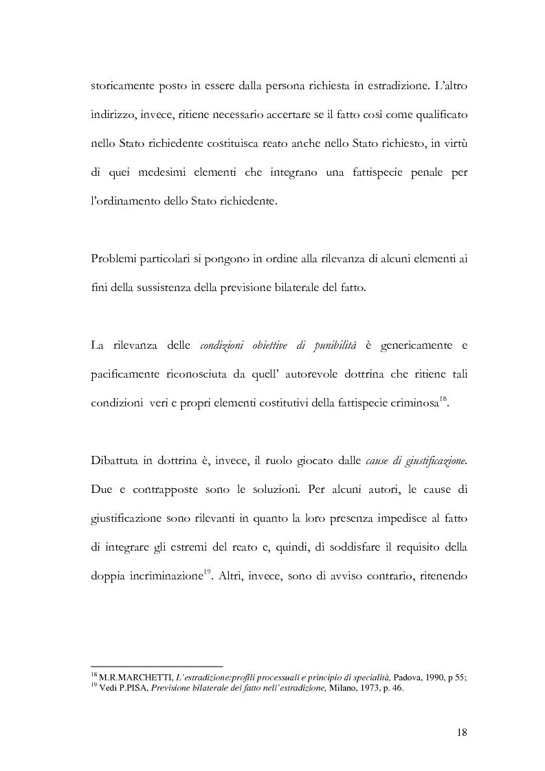 Anteprima della tesi: Il principio di specialità nell'estradizione attiva o dall'estero, Pagina 18