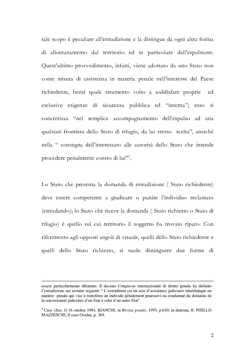 Anteprima della tesi: Il principio di specialità nell'estradizione attiva o dall'estero, Pagina 2