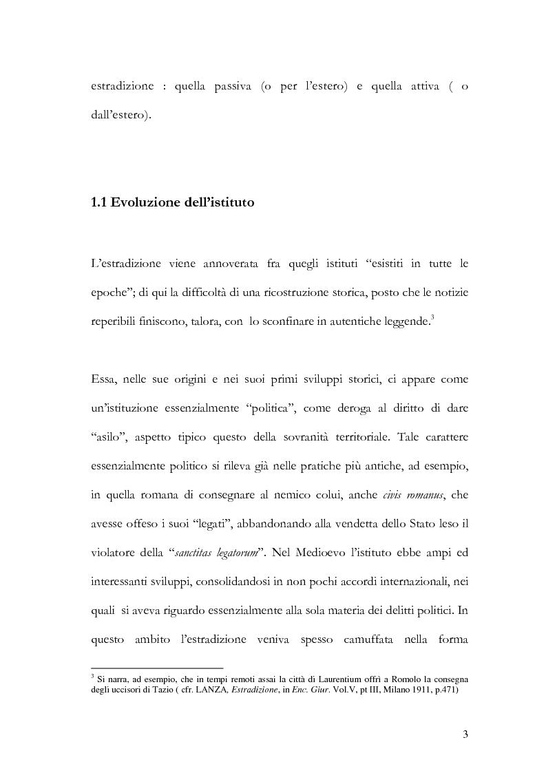 Anteprima della tesi: Il principio di specialità nell'estradizione attiva o dall'estero, Pagina 3