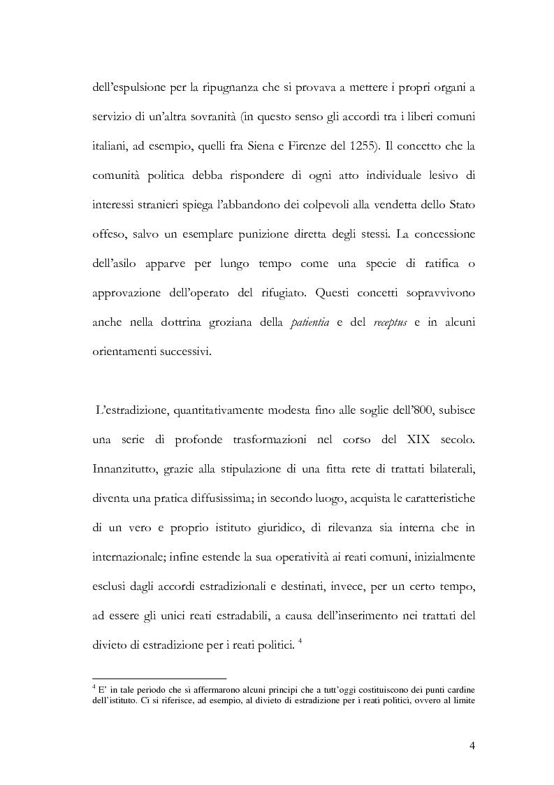 Anteprima della tesi: Il principio di specialità nell'estradizione attiva o dall'estero, Pagina 4