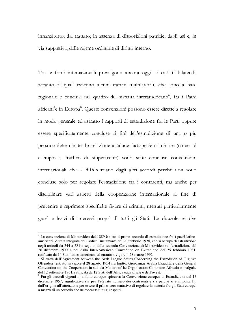 Anteprima della tesi: Il principio di specialità nell'estradizione attiva o dall'estero, Pagina 7