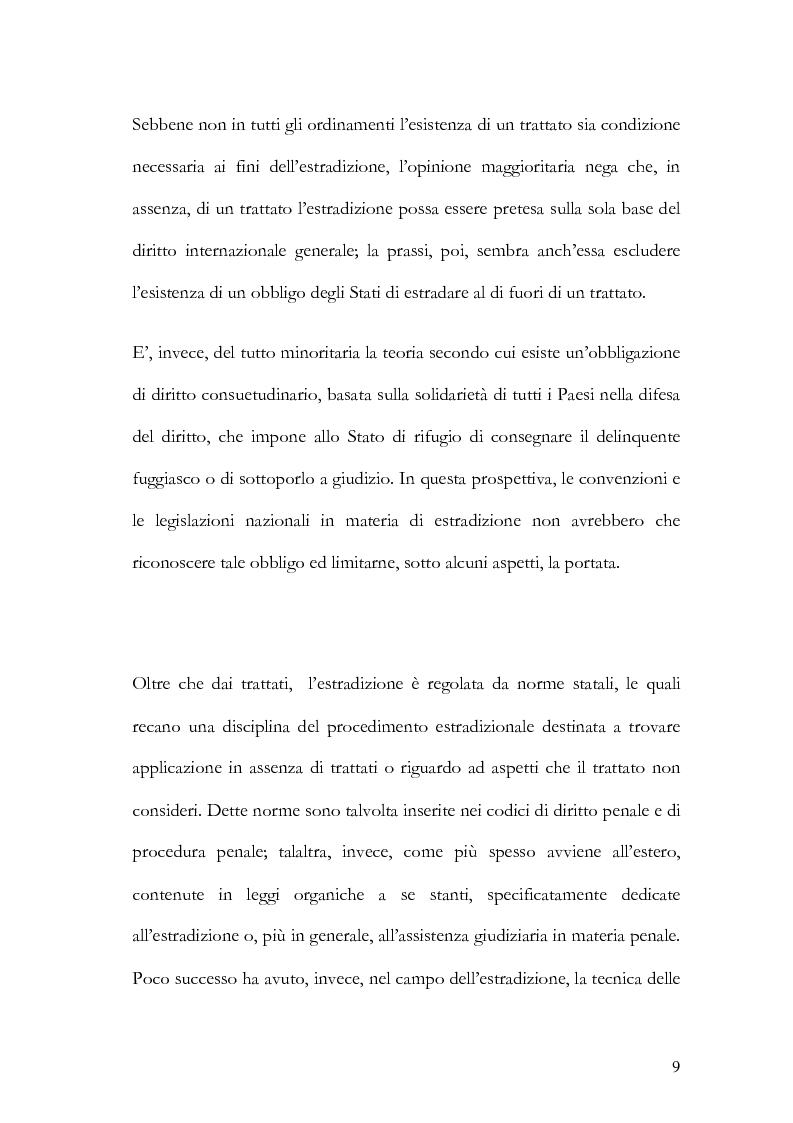 Anteprima della tesi: Il principio di specialità nell'estradizione attiva o dall'estero, Pagina 9