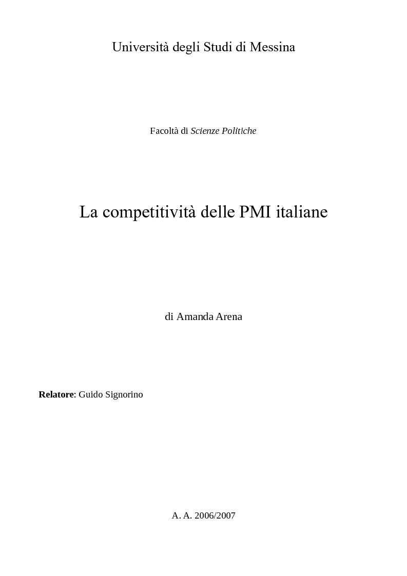Anteprima della tesi: La competitività delle PMI italiane, Pagina 1