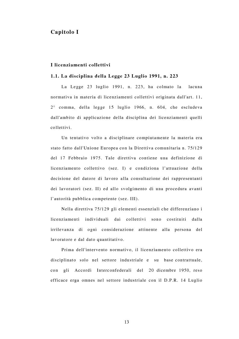 Anteprima della tesi: Licenziamenti collettivi e criteri di scelta, Pagina 1