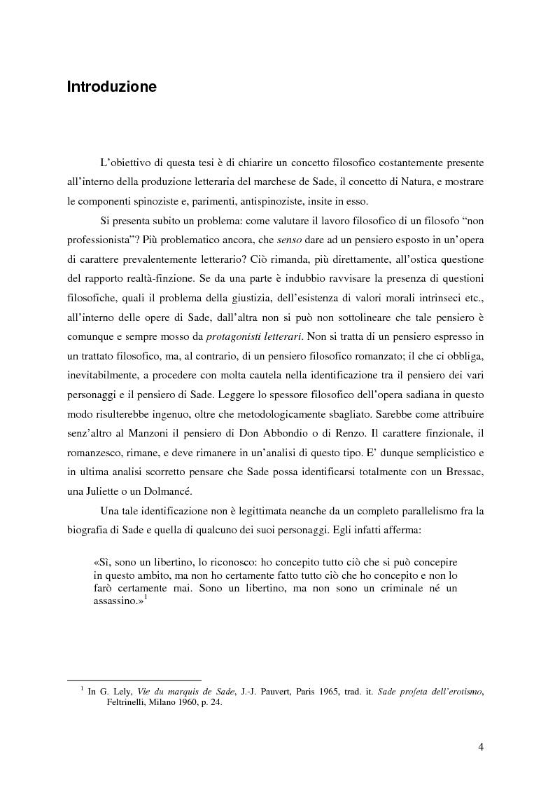 Anteprima della tesi: Natura e antinatura - Spinozismo e antispinozismo nel pensiero sadista, Pagina 1