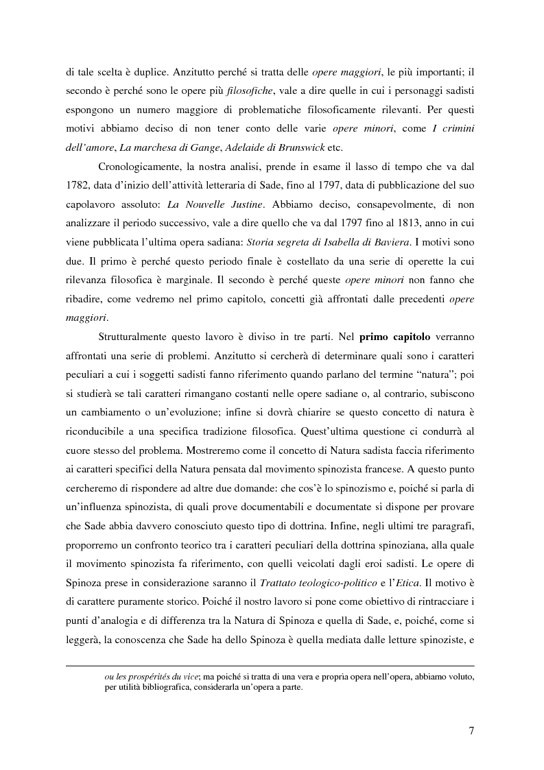 Anteprima della tesi: Natura e antinatura - Spinozismo e antispinozismo nel pensiero sadista, Pagina 4