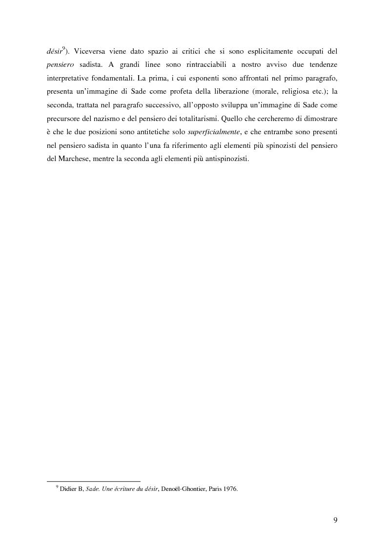 Anteprima della tesi: Natura e antinatura - Spinozismo e antispinozismo nel pensiero sadista, Pagina 6