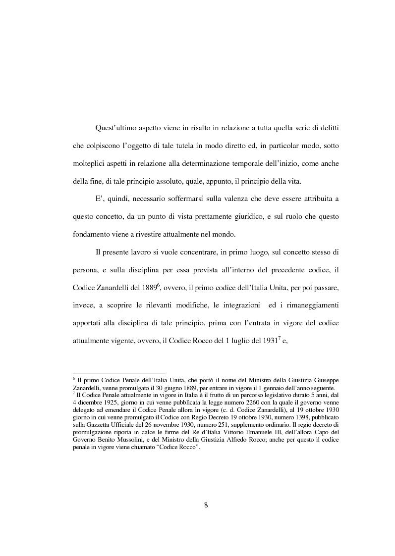 Anteprima della tesi: La tutela penale della vita umana, Pagina 2