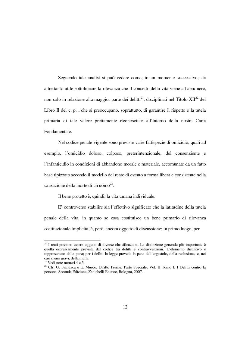 Anteprima della tesi: La tutela penale della vita umana, Pagina 6