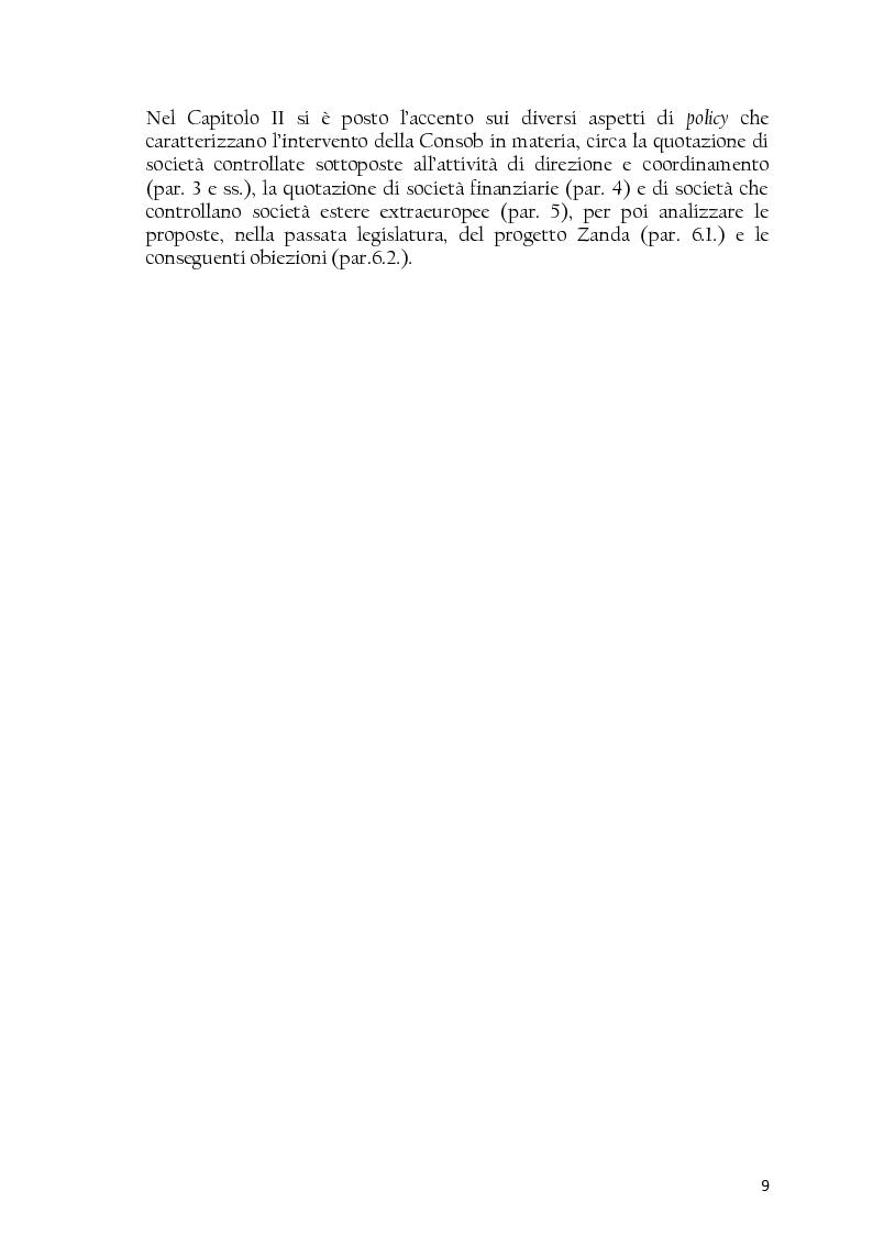 Anteprima della tesi: La società controllata e la quotazione, Pagina 9