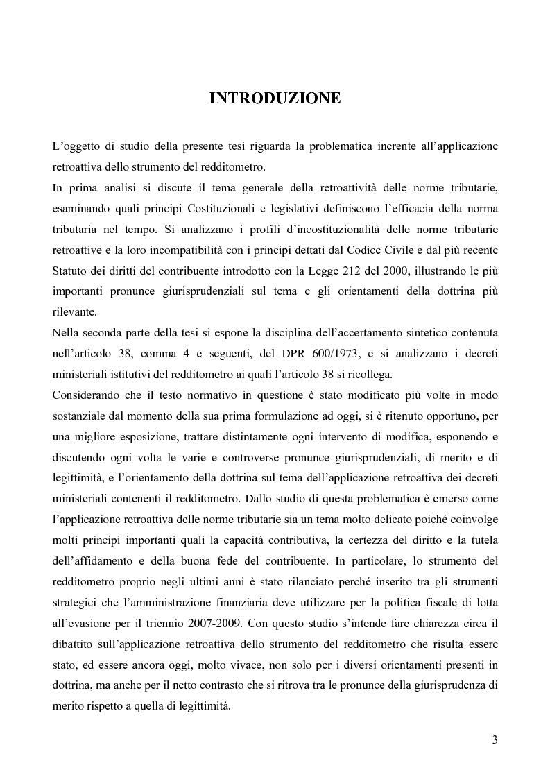 Anteprima della tesi: Il redditometro: questioni inerenti all'applicazione retroattiva, Pagina 1