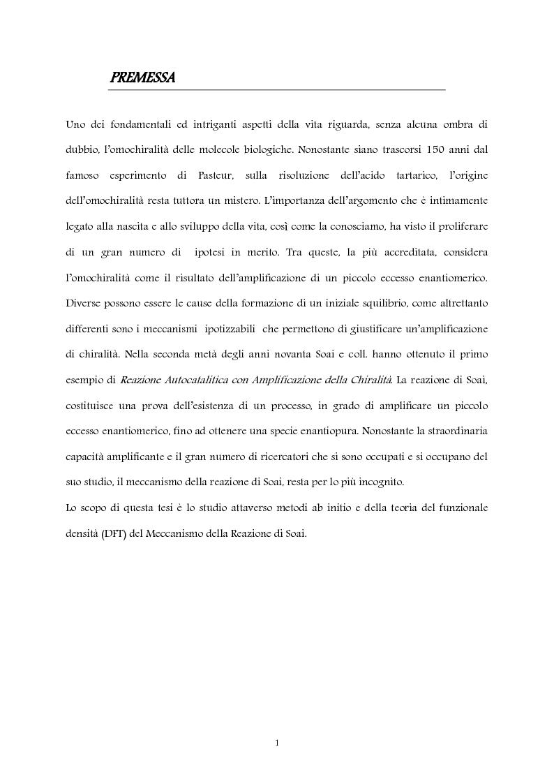 Anteprima della tesi: Studio computazionale del meccanismo della reazione di Soai, Pagina 1