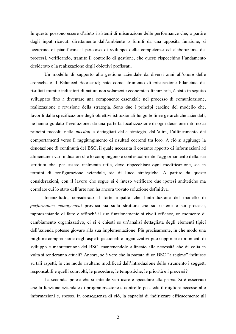 Anteprima della tesi: La balanced scorecard come strumento di gestione del cambiamento organizzativo: il caso dell'Azienda Ospedaliera di Busto Arsizio, Pagina 2