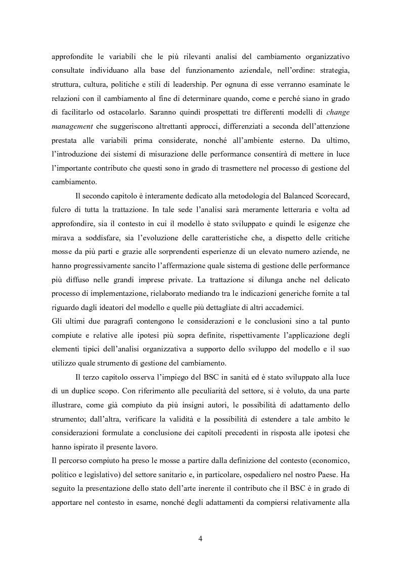 Anteprima della tesi: La balanced scorecard come strumento di gestione del cambiamento organizzativo: il caso dell'Azienda Ospedaliera di Busto Arsizio, Pagina 4