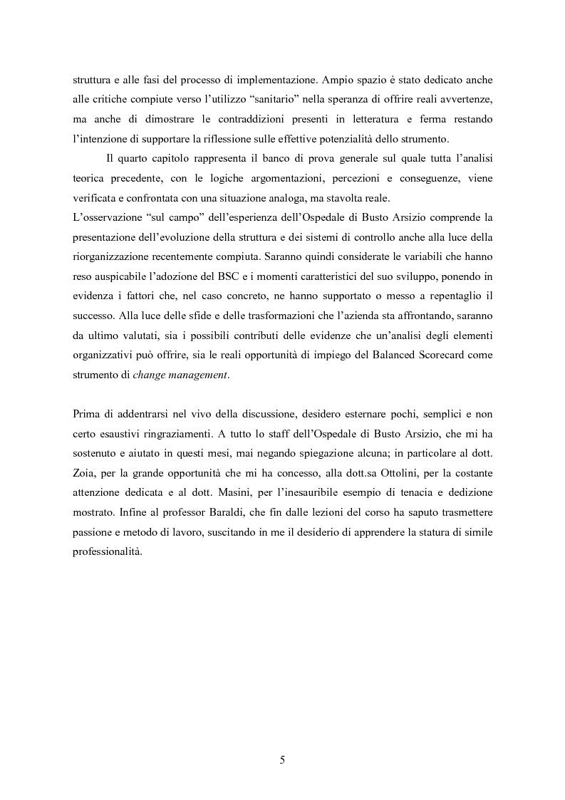 Anteprima della tesi: La balanced scorecard come strumento di gestione del cambiamento organizzativo: il caso dell'Azienda Ospedaliera di Busto Arsizio, Pagina 5