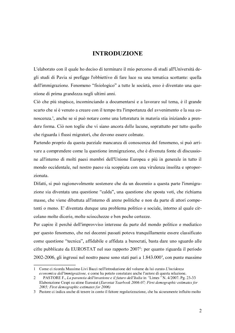 Anteprima della tesi: Le immigrazioni in Italia. Aspetti demografici ed economici, Pagina 1