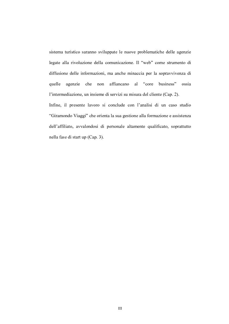 Anteprima della tesi: Il franchising nelle agenzie di viaggio. Il caso Giramondo, Pagina 3