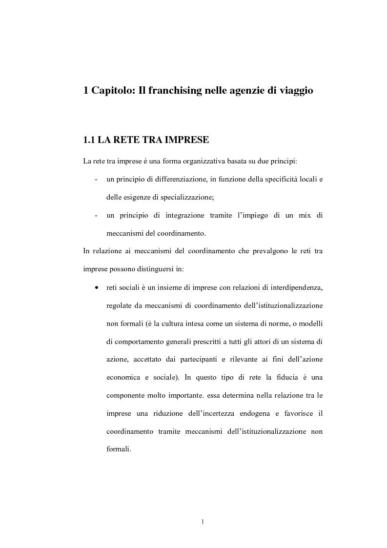 Anteprima della tesi: Il franchising nelle agenzie di viaggio. Il caso Giramondo, Pagina 4