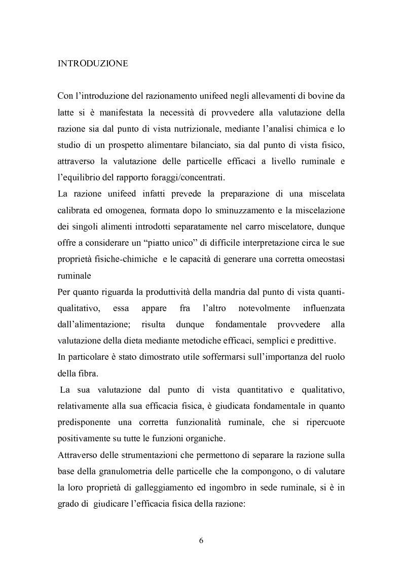 Anteprima della tesi: Valutazione della struttura della fibra in razioni unifeed mediante metodiche di campo, Pagina 2