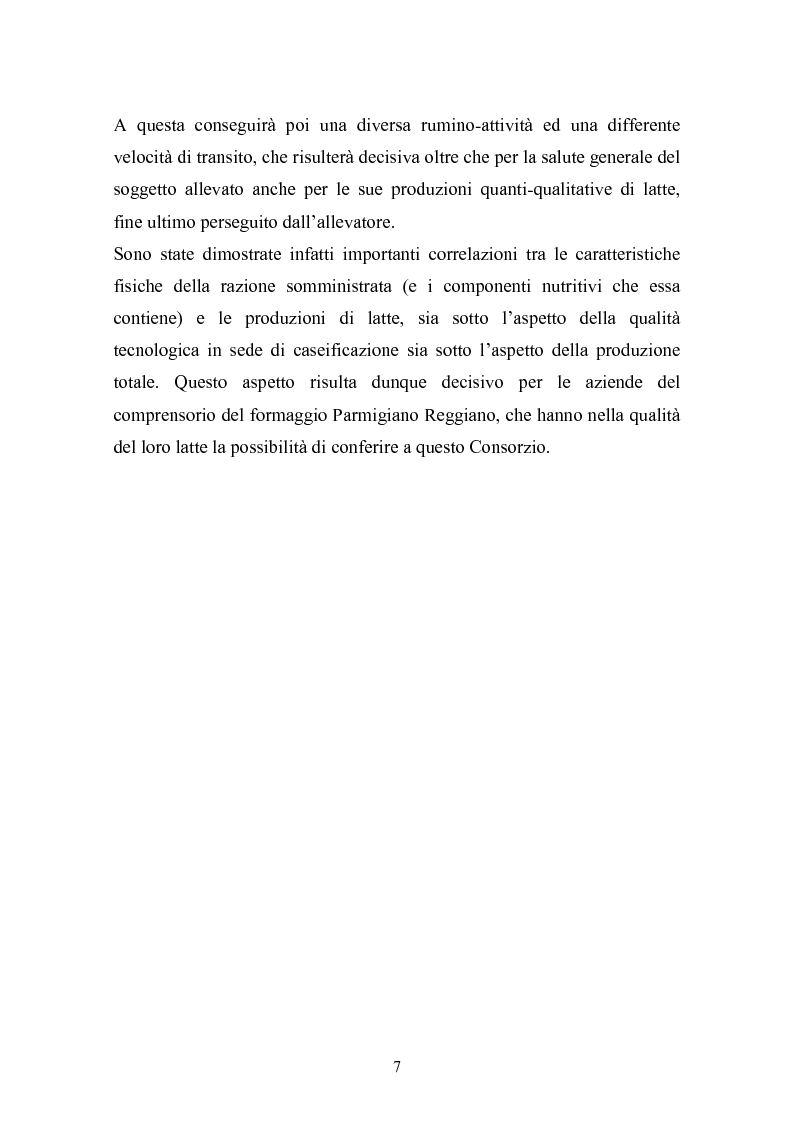 Anteprima della tesi: Valutazione della struttura della fibra in razioni unifeed mediante metodiche di campo, Pagina 3