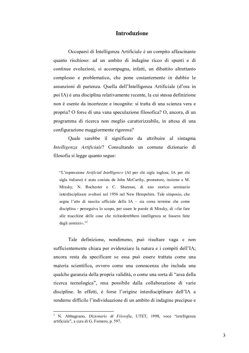 Anteprima della tesi: Artificial Intelligence. Un programma di ricerca filosofico, Pagina 1