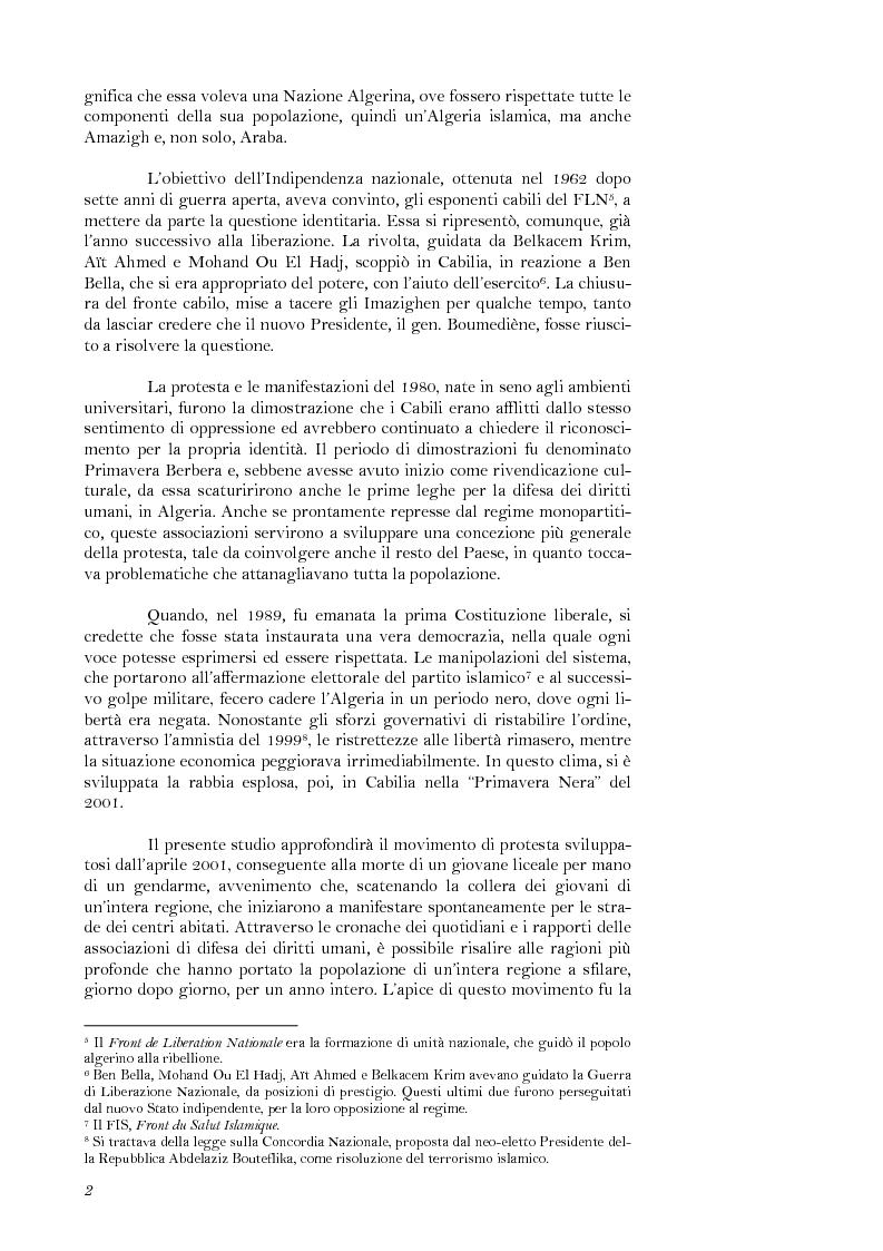 Anteprima della tesi: La lotta per il riconoscimento di un'identità: la ''Primavera Nera'' in Cabilia, Pagina 2