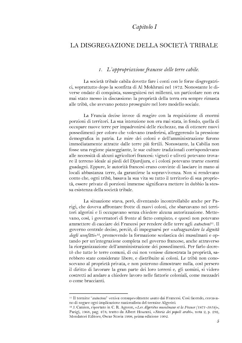 Anteprima della tesi: La lotta per il riconoscimento di un'identità: la ''Primavera Nera'' in Cabilia, Pagina 5