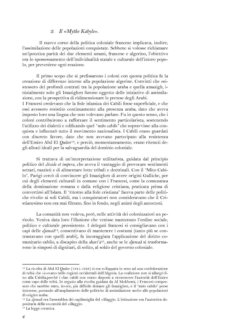 Anteprima della tesi: La lotta per il riconoscimento di un'identità: la ''Primavera Nera'' in Cabilia, Pagina 6