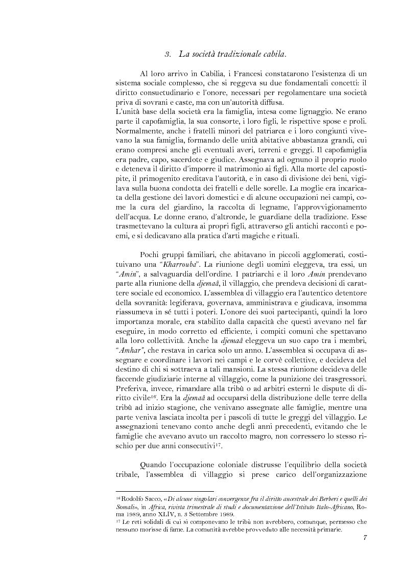 Anteprima della tesi: La lotta per il riconoscimento di un'identità: la ''Primavera Nera'' in Cabilia, Pagina 7
