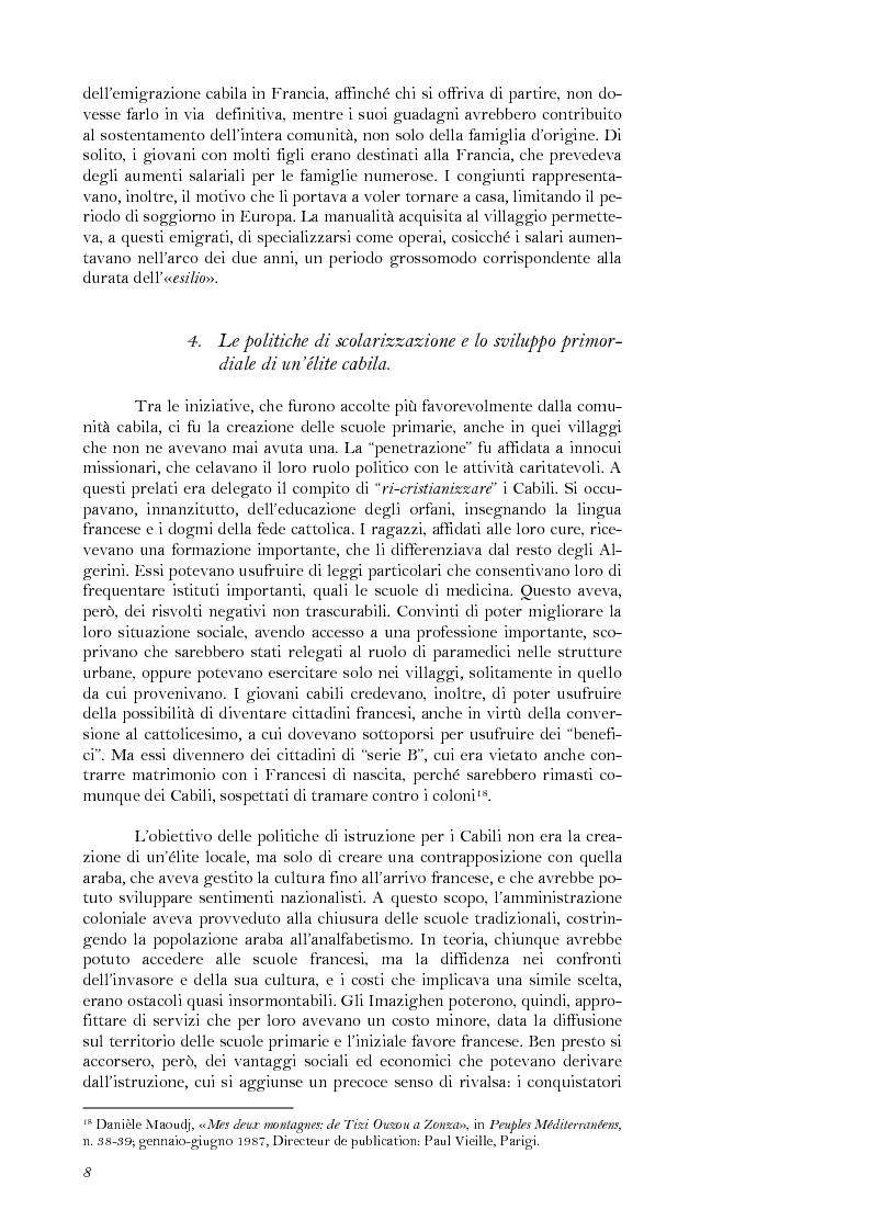 Anteprima della tesi: La lotta per il riconoscimento di un'identità: la ''Primavera Nera'' in Cabilia, Pagina 8