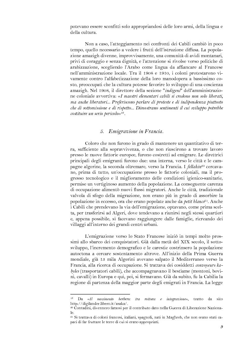 Anteprima della tesi: La lotta per il riconoscimento di un'identità: la ''Primavera Nera'' in Cabilia, Pagina 9
