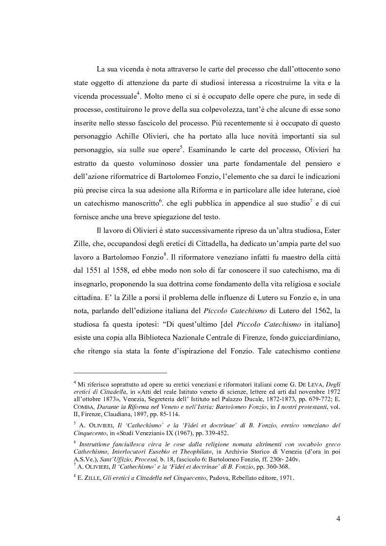 Anteprima della tesi: Il cathechismo di Bartolomeo Fonzio: un riformatore veneziano sulla scia di Lutero, Pagina 2