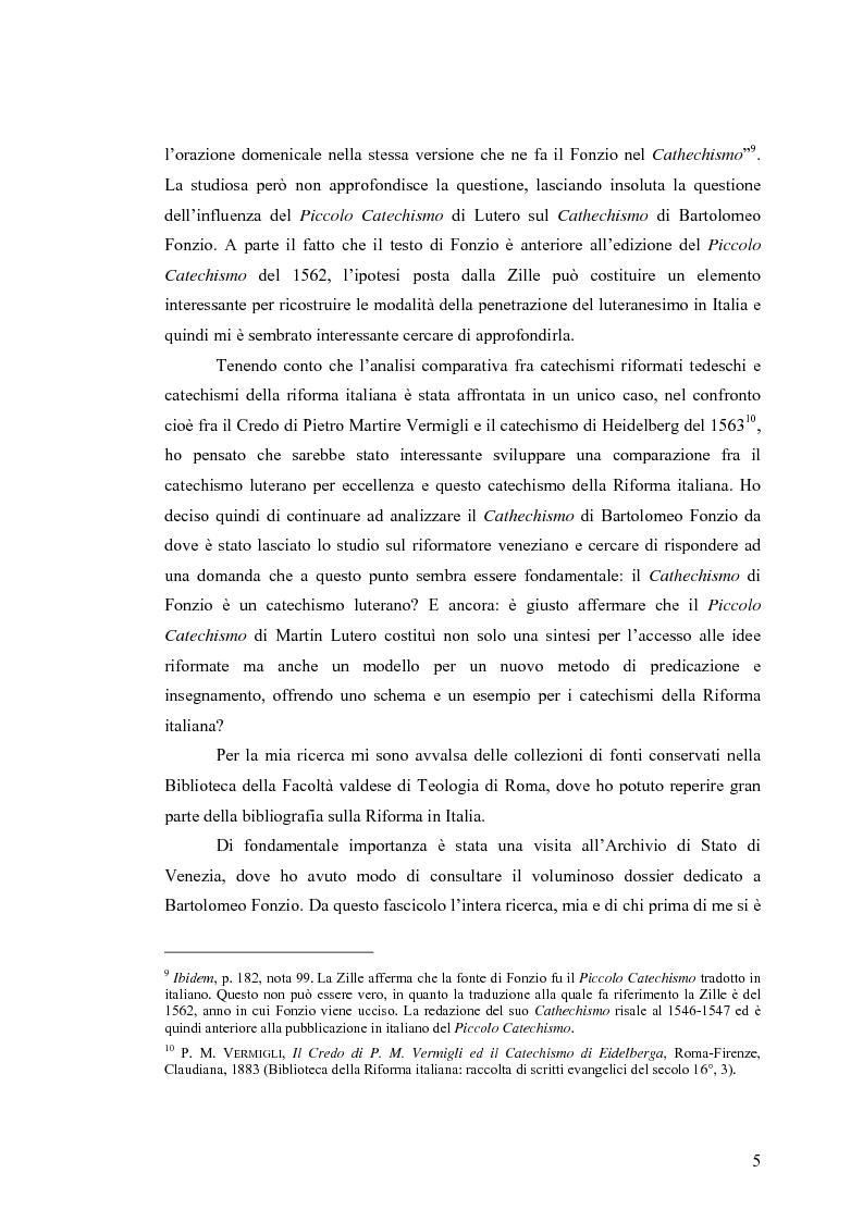 Anteprima della tesi: Il cathechismo di Bartolomeo Fonzio: un riformatore veneziano sulla scia di Lutero, Pagina 3
