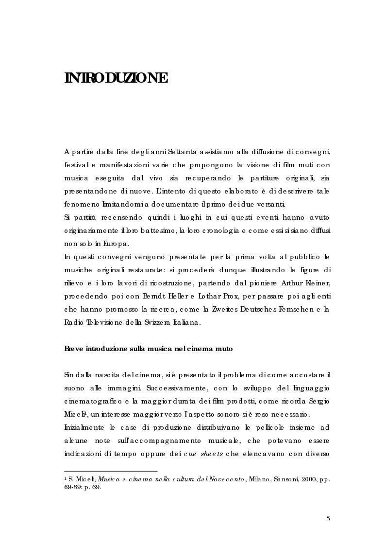 Anteprima della tesi: La riscoperta delle musiche originali per il cinema muto: trent'anni di festival e revival, Pagina 1