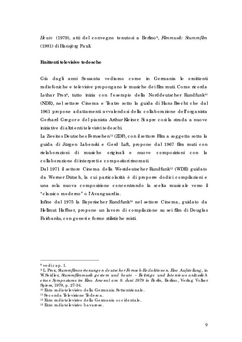 Anteprima della tesi: La riscoperta delle musiche originali per il cinema muto: trent'anni di festival e revival, Pagina 5