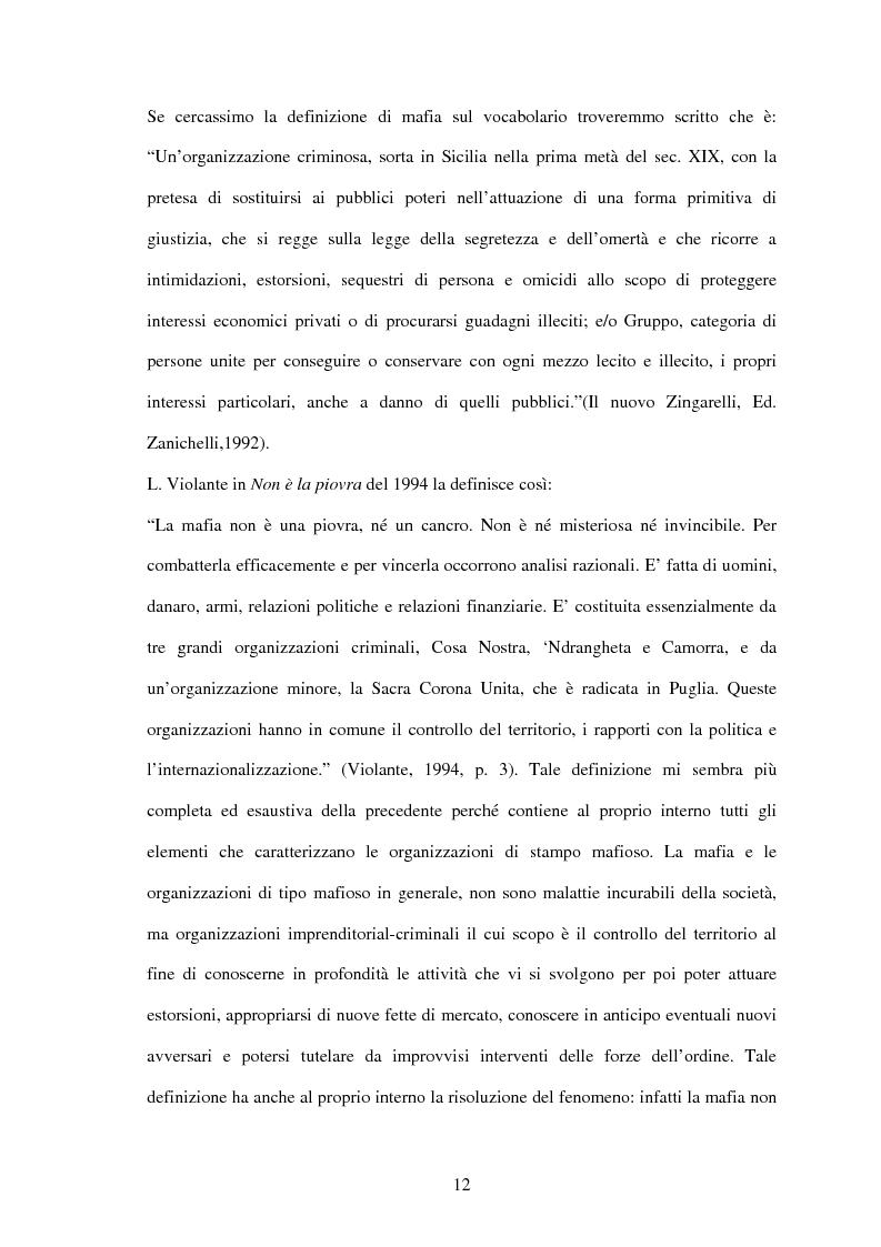Anteprima della tesi: La criminalità organizzata di matrice mafiosa in Puglia, Pagina 10
