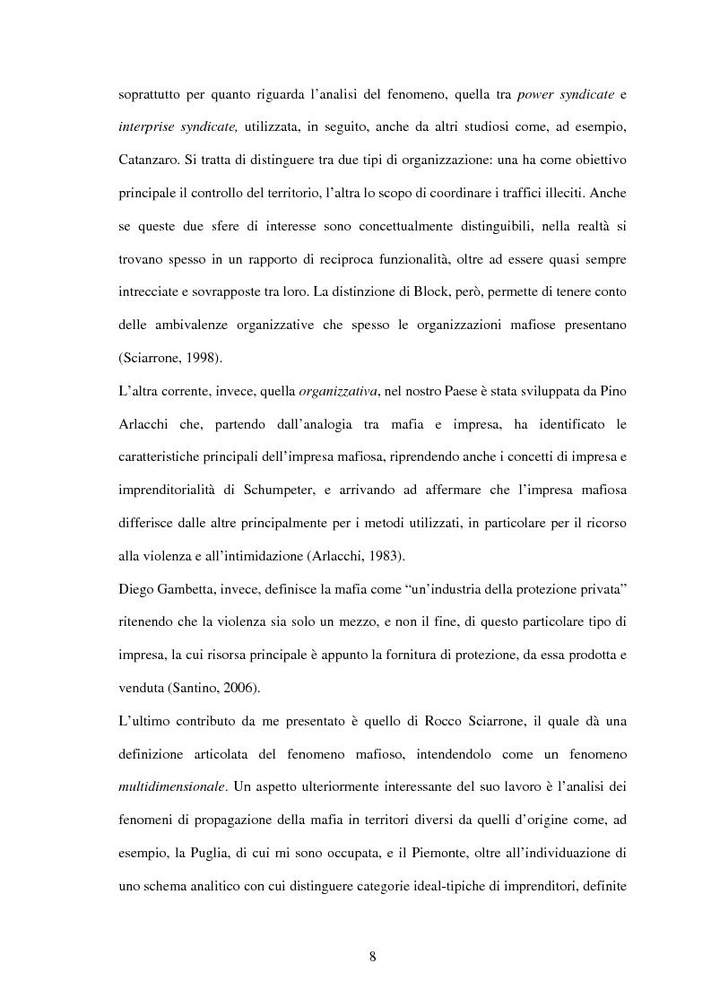 Anteprima della tesi: La criminalità organizzata di matrice mafiosa in Puglia, Pagina 6
