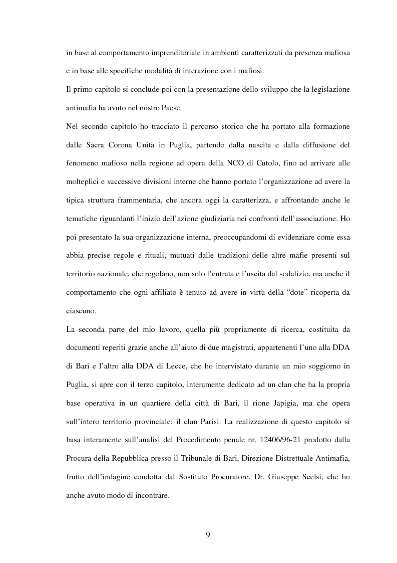 Anteprima della tesi: La criminalità organizzata di matrice mafiosa in Puglia, Pagina 7