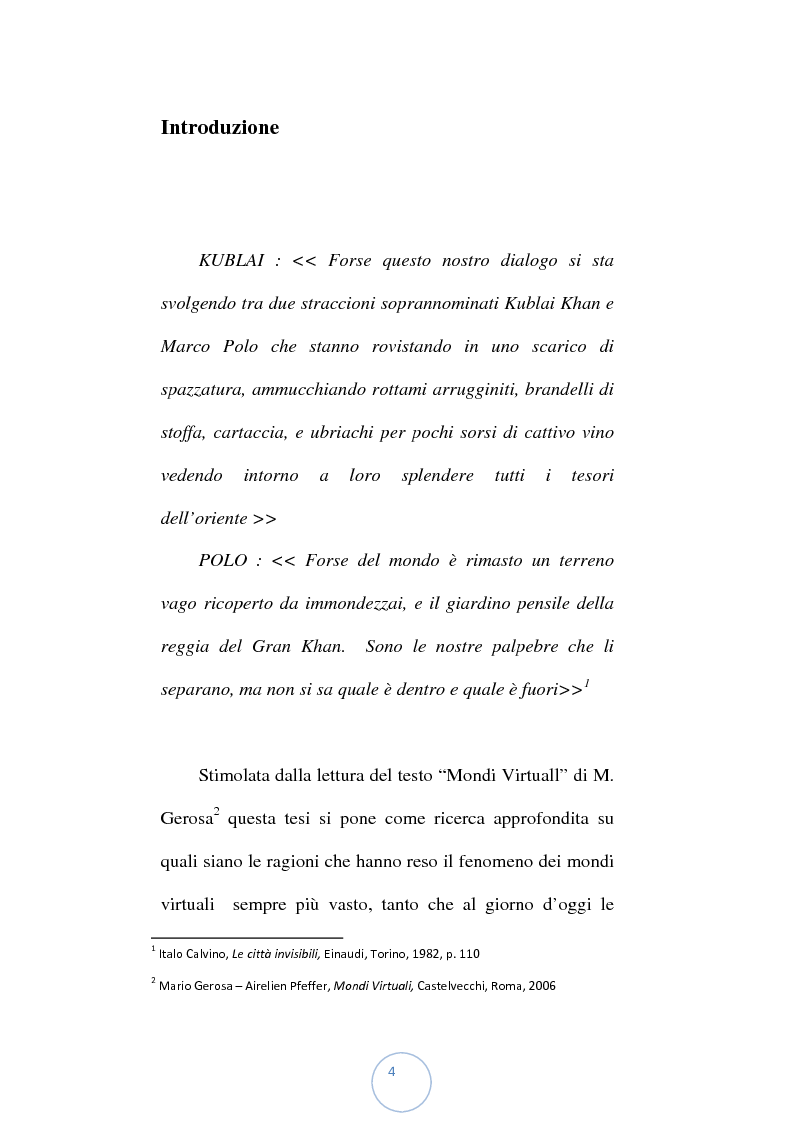 Anteprima della tesi: Viaggio attraverso i confini della realtà: i mondi virtuali, Pagina 1