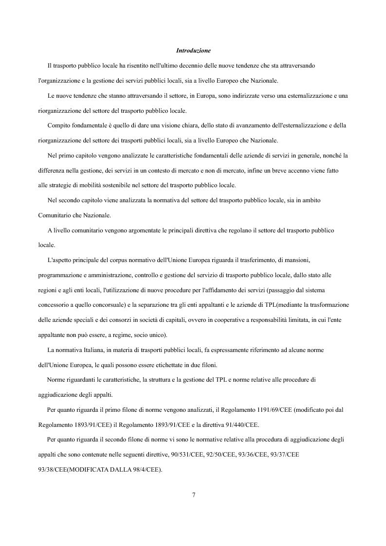 Anteprima della tesi: Analisi economica delle scelte di esternalizzazione dei servizi di trasporto pubblico locale, Pagina 1