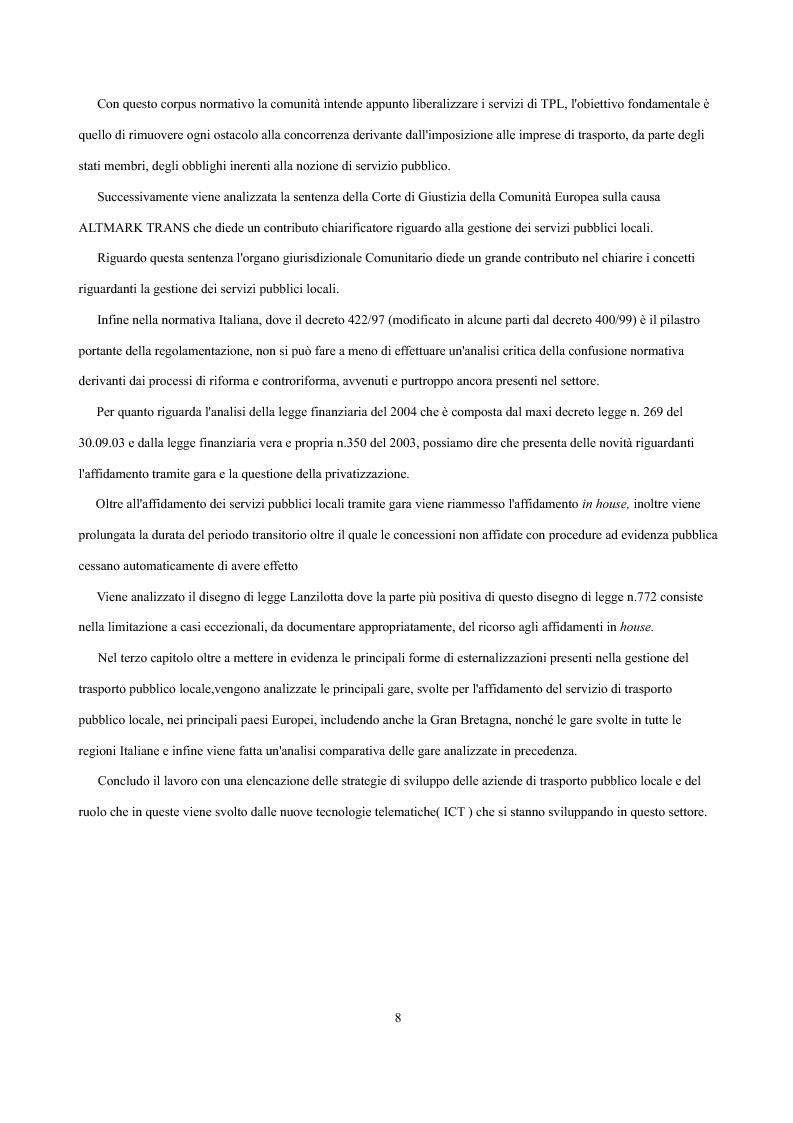 Anteprima della tesi: Analisi economica delle scelte di esternalizzazione dei servizi di trasporto pubblico locale, Pagina 2