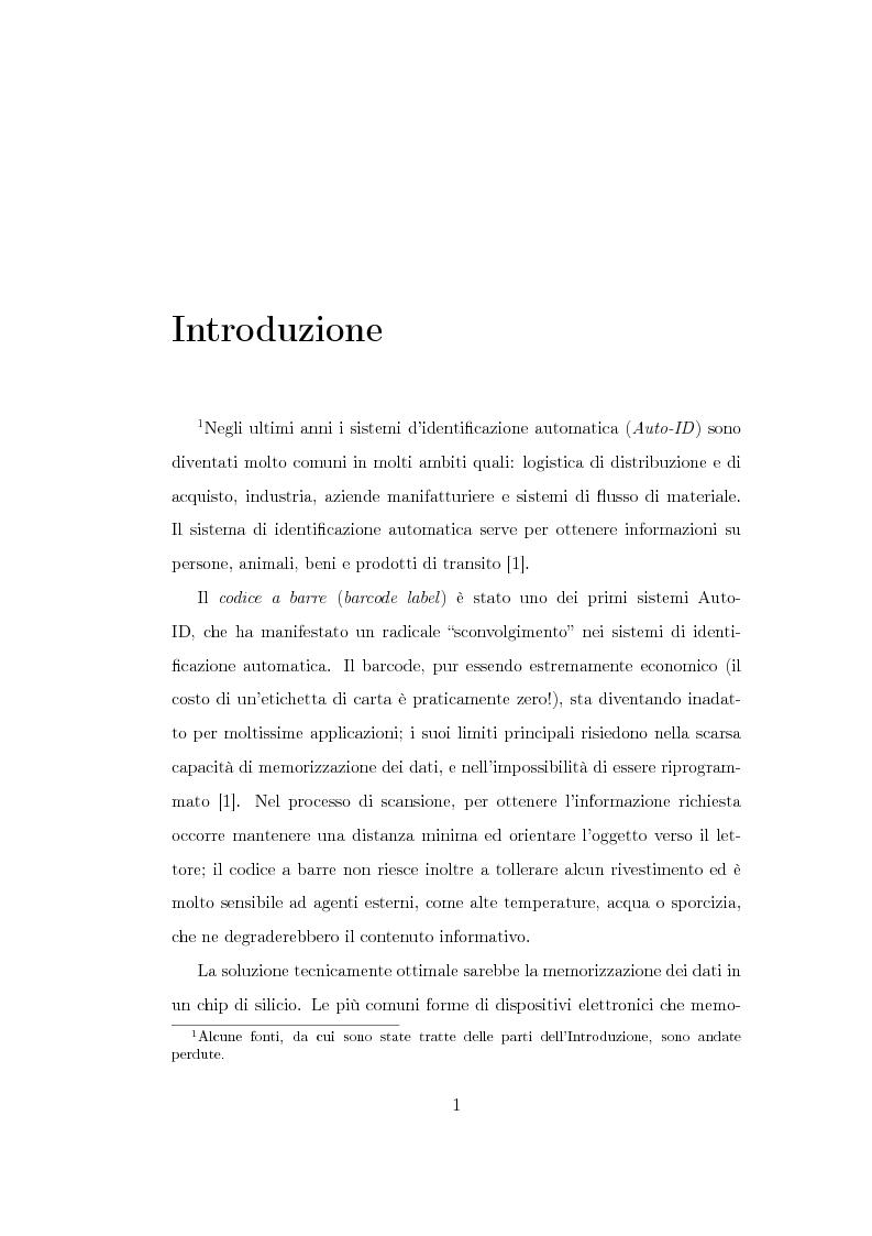 Anteprima della tesi: Studio di un'antenna a dipolo per applicazioni RFID a 2.45 GHz: indagine numerica, Pagina 1